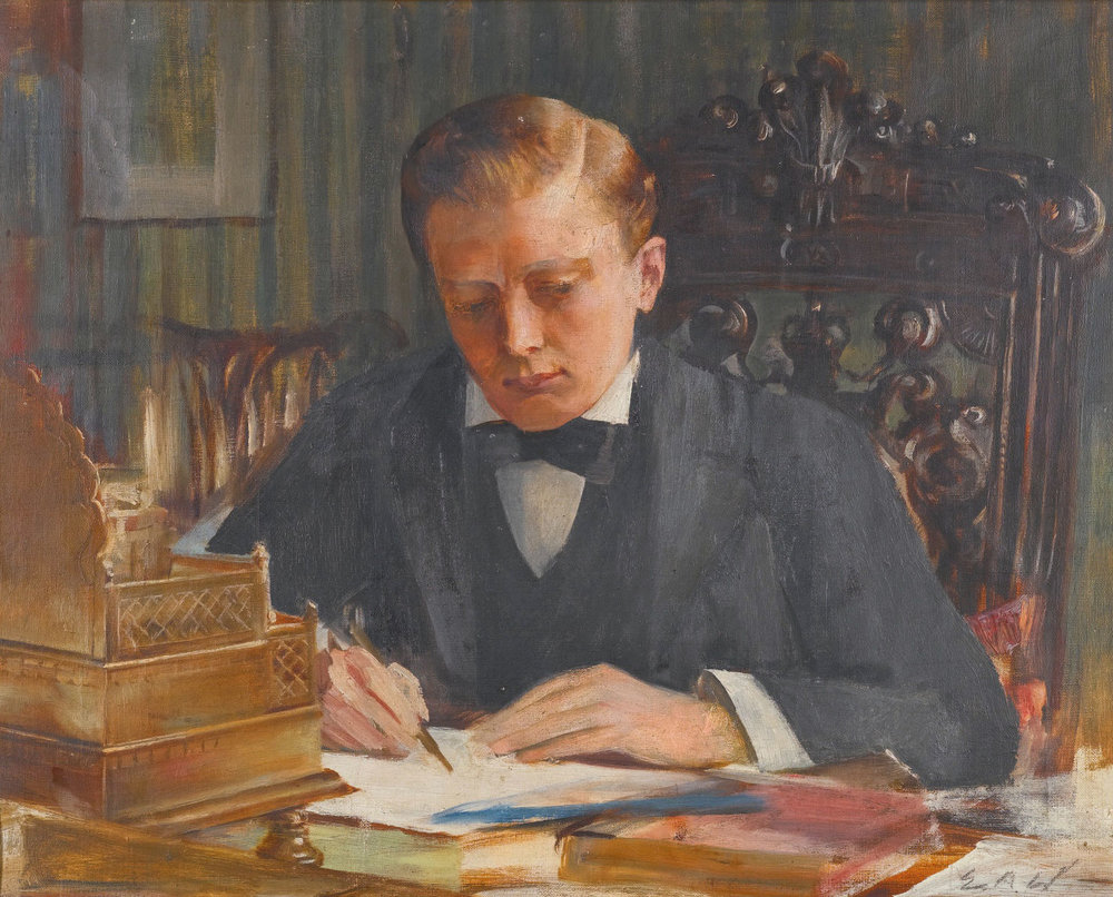 Portrait of Winston Churchill as a young man by Edwin Arthur Ward. Source:  Wikimedia Commons (public domain.)