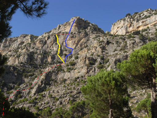 View from the pine forest near the road. Dashed line is the walking approach along the gully (not visible from this perspective). Solid lines are the climbs: left is  Green Crack , right is  Gold Mine . Dotted line between the top of  Green Crack  and the top of the 4th pitch of   Gold Mine  is a walk that connects  Green Crack  with the rappeling line of  Gold Mine .