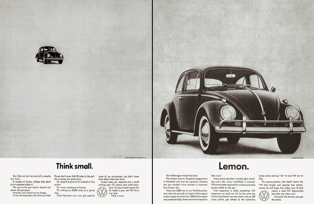 DDB's original Volkswagen ad for the US. Think Small grabbed everyone's attention and solicited emotional response.