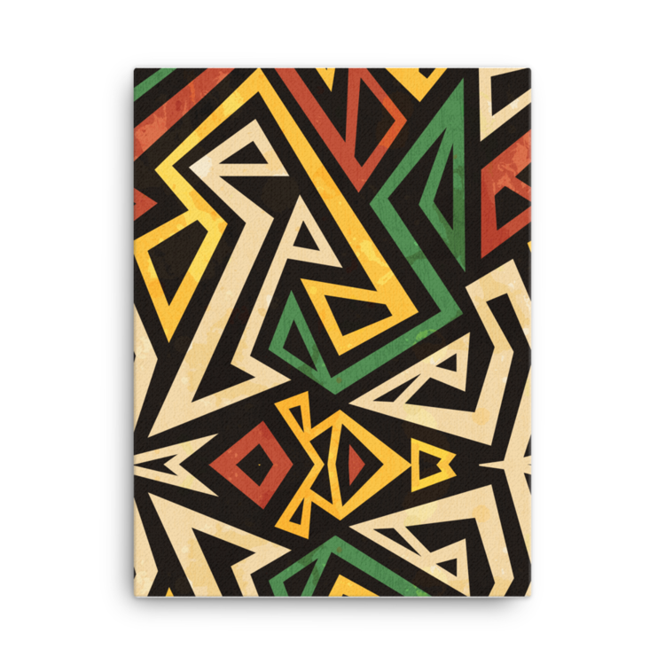african geometric pattern canvas 18x24 blue apple designs
