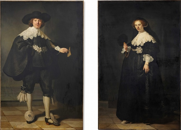 Rambrandt van Rijn,  Pendant Portraits of Maerten Soolmans and Oopjen Coppit,  1634, oil on canvas