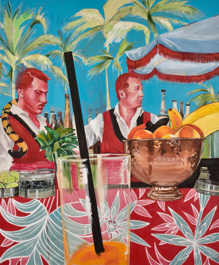 A Bar At The Faena 2 , 2017. Oil on canvas. 170×140 cm (triptych)