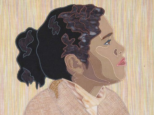 """Carleen,"" an example of the quilt made in the ""Portrait by Machine"" workshop."