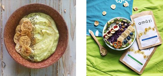 Creamy Coconut Breakfast bowl by Lauren Nixon; breakfast rice bowl by Grace Ling