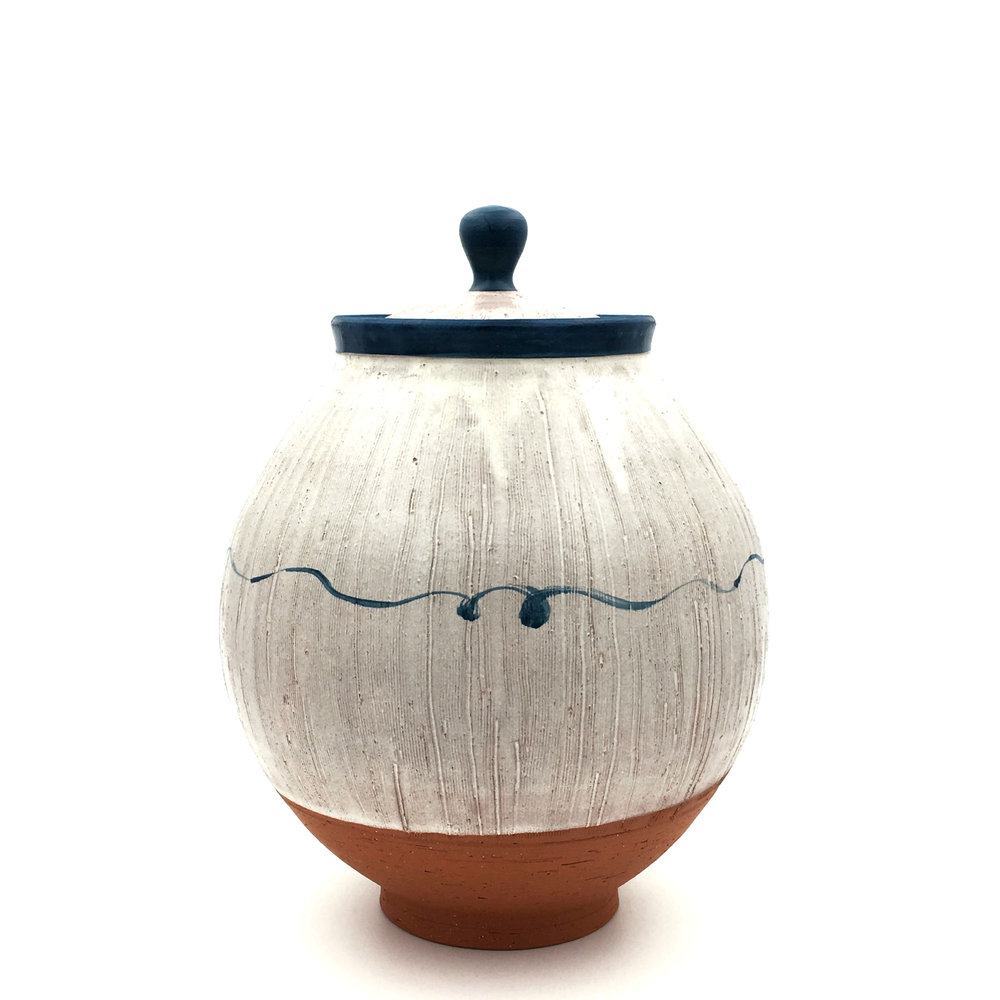 Lidded Jar,  earthenware, 2016