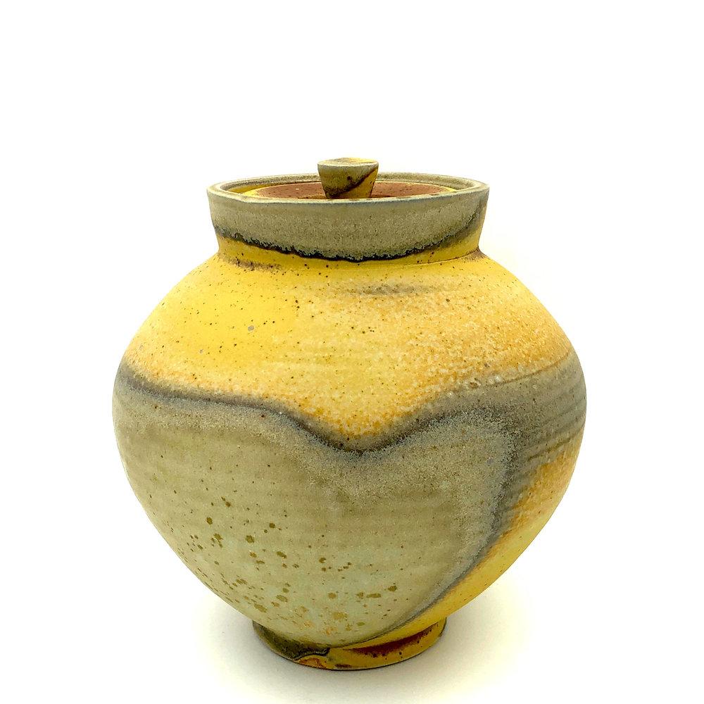 Lidded Jar , soda fired stoneware, 2018