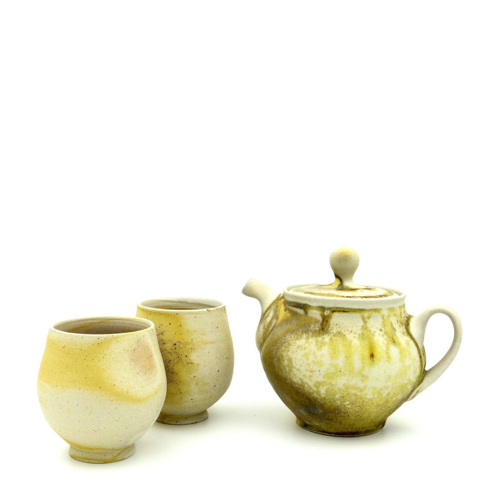 Teapot and Cups , soda fired stoneware, 2018