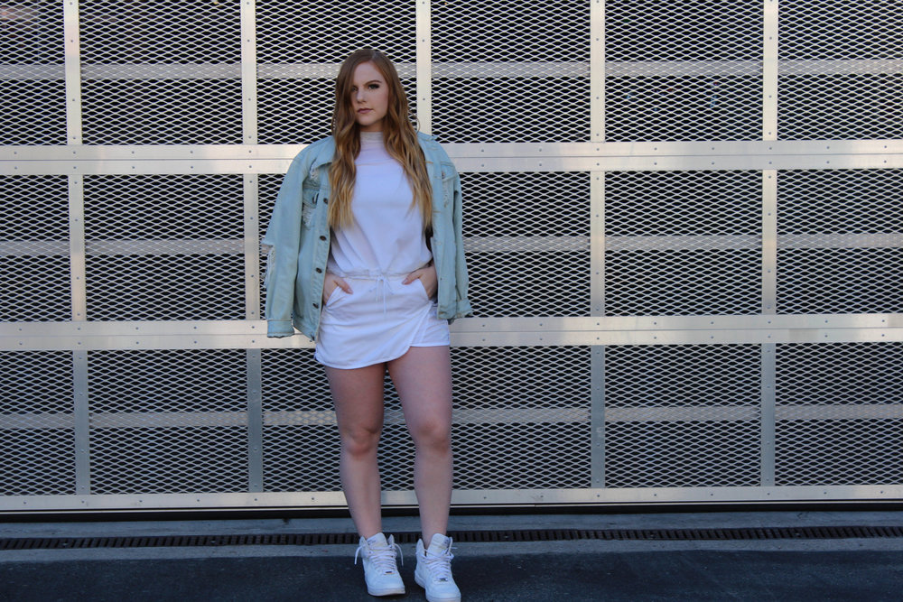 I'll always find a way to wear Nikes with my outfit - If you know me, you know that's true. When I came across this two piece set, I couldn't pass it up (all Nike everything).Paired with classic AF1's and a denim jacket inspired by Kanye's latest album, you have an outfit that perfectly captures my personal style.