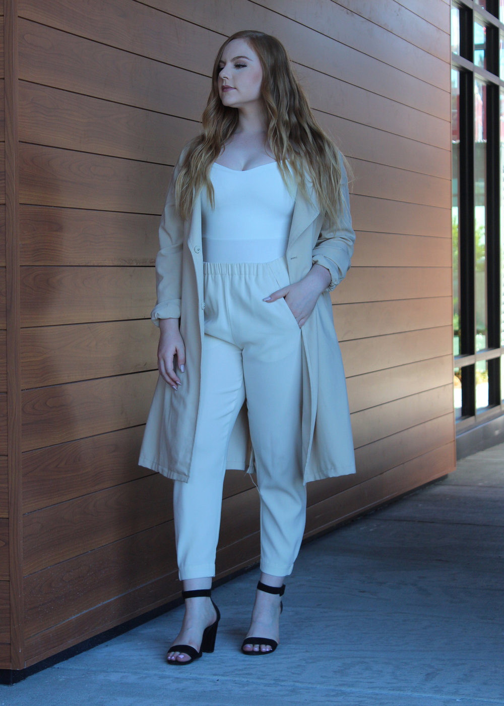 White After Labor Day is a Thing - When the tones are right, you just do it. This white body suit paired with creme crepe trousers and a taupe trench coat tie a risky light neutral toned look together. When you have similar toned items in your closet, try pairing them together. You never know, they may compliment each other in all the right ways.
