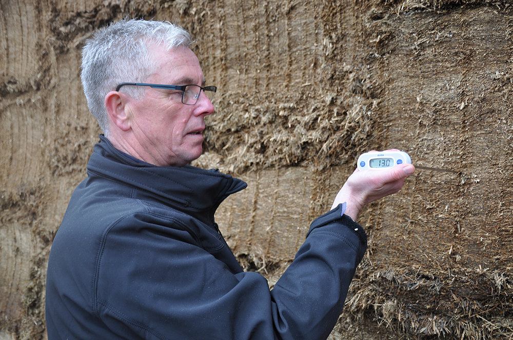As well as testing for temperature, the degree of difficulty of inserting the thermometer probe into the silage indicates how well it's been consolidated, says Darran Ward.