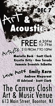 ACOUSTIC SHOW - DECEMBER 7th    Come hang at Ill-Advised's first ever acoustic show at the Canvas Clash Art & Music Venue in Boonton, NJ.   Tickets are $10 and fans will get a download card good for future use on our upcoming EP and some free Ill-Advised stickers.   For more info and to RSVP  click here .   E-mail tickets@illadvised.net for tickets or contact us on  Twitter  and  Facebook .