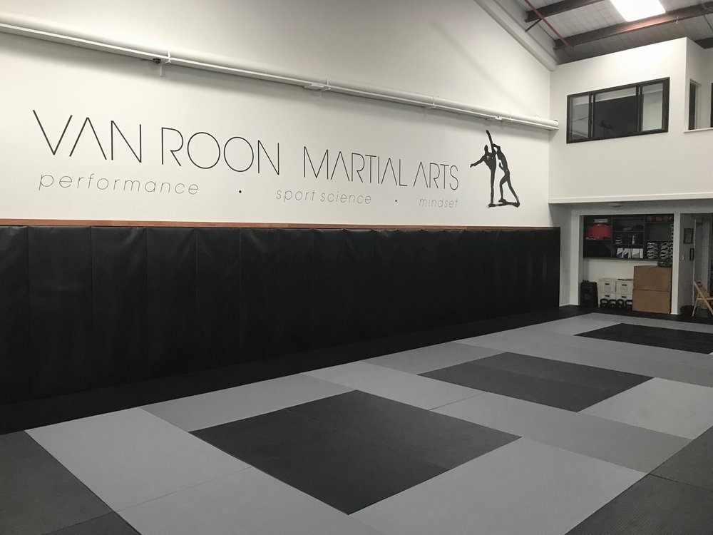 The studio training floor featuring premium floor and wall matting
