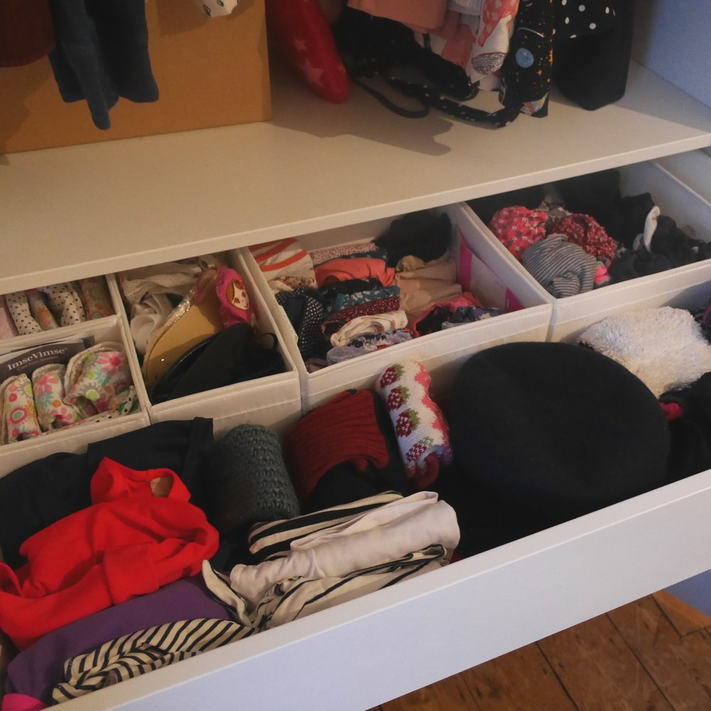 Neatly organised drawers using small boxes = no trying to find your lucky socks in a rush!