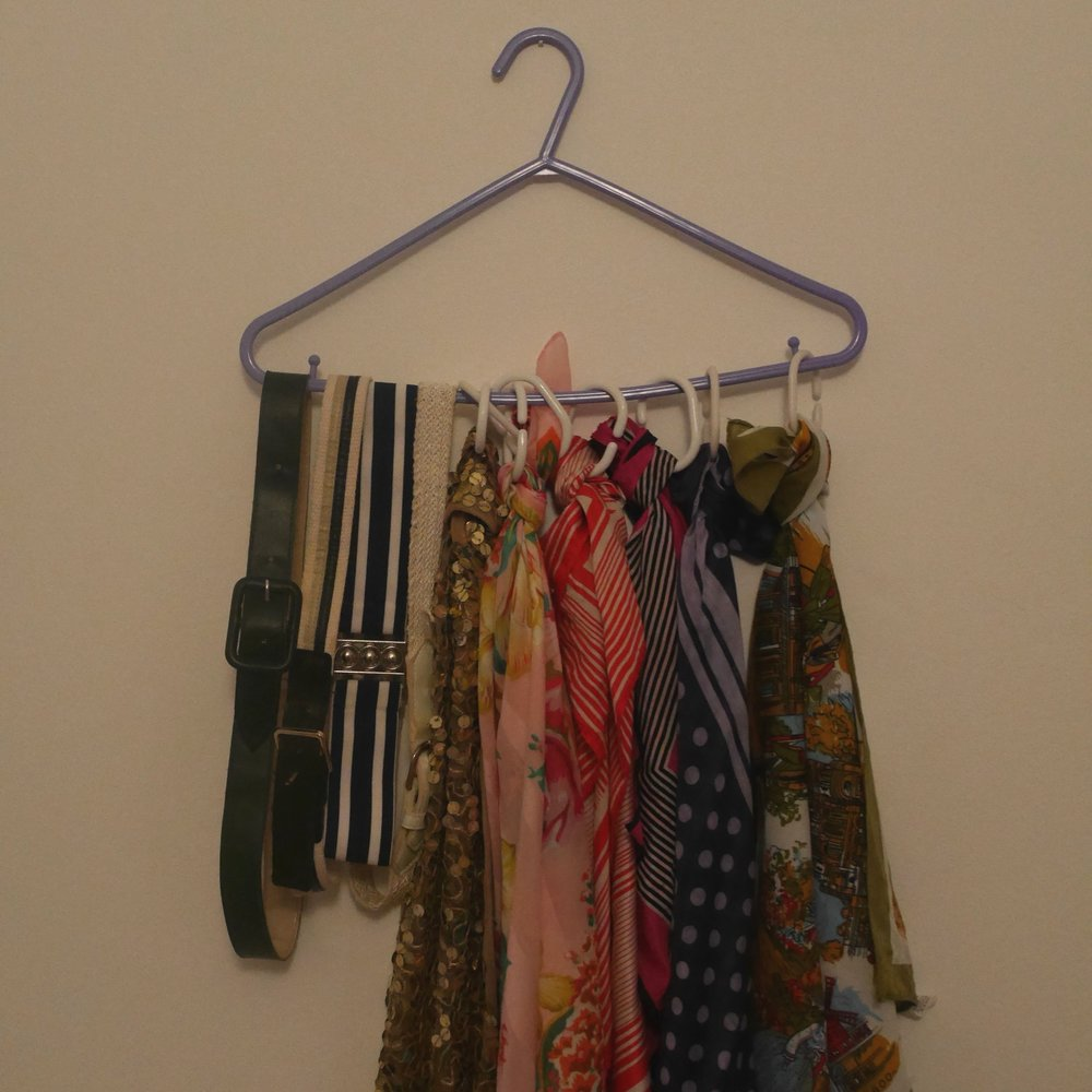 Organise scarves and belts so they're easy to find!