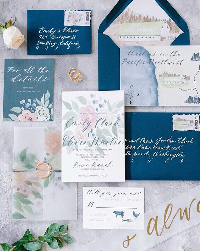 #tbt to one of my favorite suites! 🌸🌿 Let talk about stationery pieces shall we? ⠀⠀⠀⠀⠀⠀⠀⠀⠀ A wedding suite typically has 3 pieces. ✨ Main Invitation ✨ Main Invitation Envelope. ✨ Details Card  You can also add: ✨ An RSVP Card + Envelope ✨ Custom Map (my personal fave!) ✨ Rehearsal Dinner Invite  Let's take it up a notch! Here are the real wow factors: ✨ Vellum Wraps, Belly Bands or Ribbon ✨ Envelope Liner ✨ Custom Wax Seals ✨ Custom or Vintage Postage Stamps ✨ Calligraphy Guest Addressing ⠀⠀⠀⠀⠀⠀⠀⠀⠀ ⠀⠀⠀⠀⠀⠀⠀⠀⠀ The best part about custom wedding invites are that each of these components give you a chance to really personalize your invites. You get to infuse you and your significant other's story and invite your most favorite people to the day that marks the next chapter of your life 💕 ⠀⠀⠀⠀⠀⠀⠀⠀⠀ I still have some custom invitations slots available for 2019 so feel free to send me an email! 😘 • • • #dailydoseofpaper #weddingpalette #weddingcolors #weddingpaper #weddinginvitation #weddinginvitationsuite #weddinginvitations #weddingstationerydesigner #weddingstationery #abmlifeiscolorful #futuremrs #futurewife #socalbride #engaged💍 #engagedlife #sobridaltheory #stylemeprettyweddings #stylemeprettybride #huffpostido #weddingidea #weddinginvites #weddinginspo #aislesociety #weddingblog #socalbrideblog  #futuremrandmrs #howheasked #weddingplanners #flatlaylove
