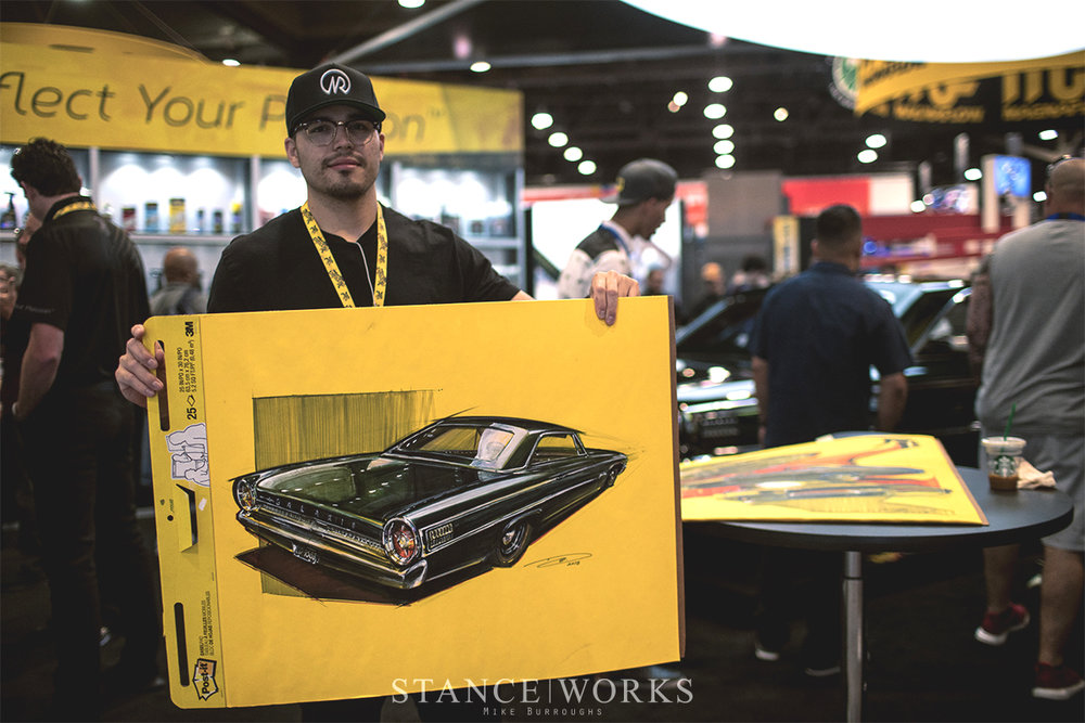 DOUG BREUNINGER - Doug Breuninger is a graduate of the Art Center College of Design in Pasadena, California. He is a rare breed in the automotive / car world in that his passion for art blends seamlessly with his love of aftermarket design. However, what he is known for these days is his Notable Rides, a Post-it series of cars he has been working on since 2013. 230 plus Post-it paintings later, He is still at it mastering his craft and indulging in his affection for traditional technique. For OG Moto Show 3, he's excited to step away from 4 wheels for a bit to show his appreciation and add some 2 wheel machinery to his plethora of work.@doug_nr