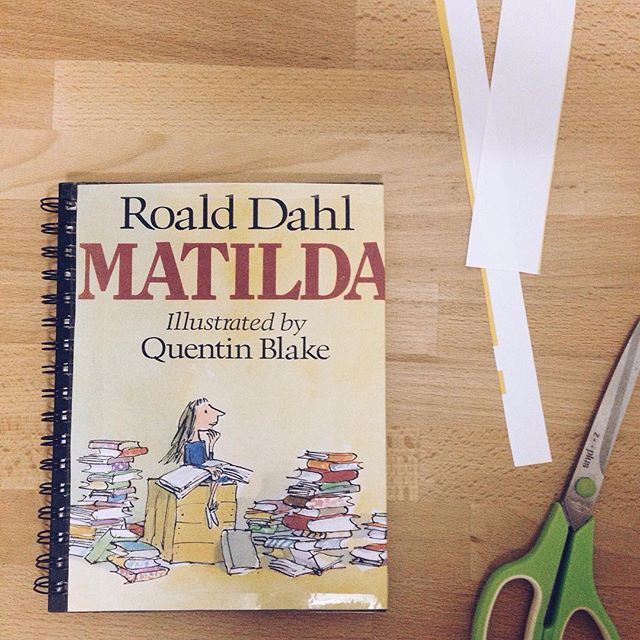 For Maia's book day tomorrow at school she is going as Matilda from the Roald Dahl book but we couldn't find the book anywhere for her to carry and the library was closed. Maia was so upset that I couldn't just do nothing so decided to make her the book tonight instead, sort of. #designerdaddy #scissorskills #bodgejob #mightwork