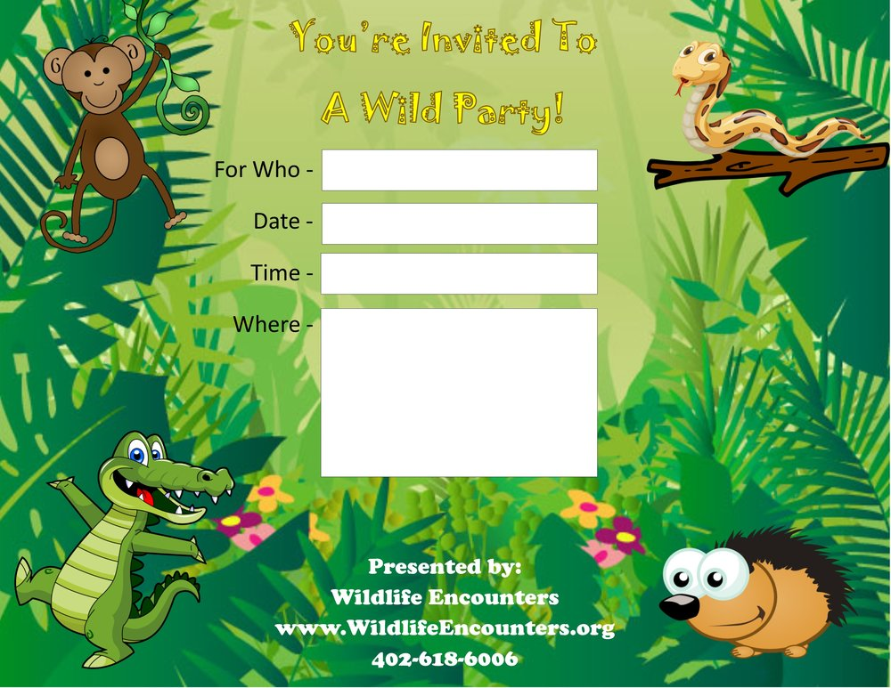 Birthday Party Invites - WILDLIFE ENCOUNTERS