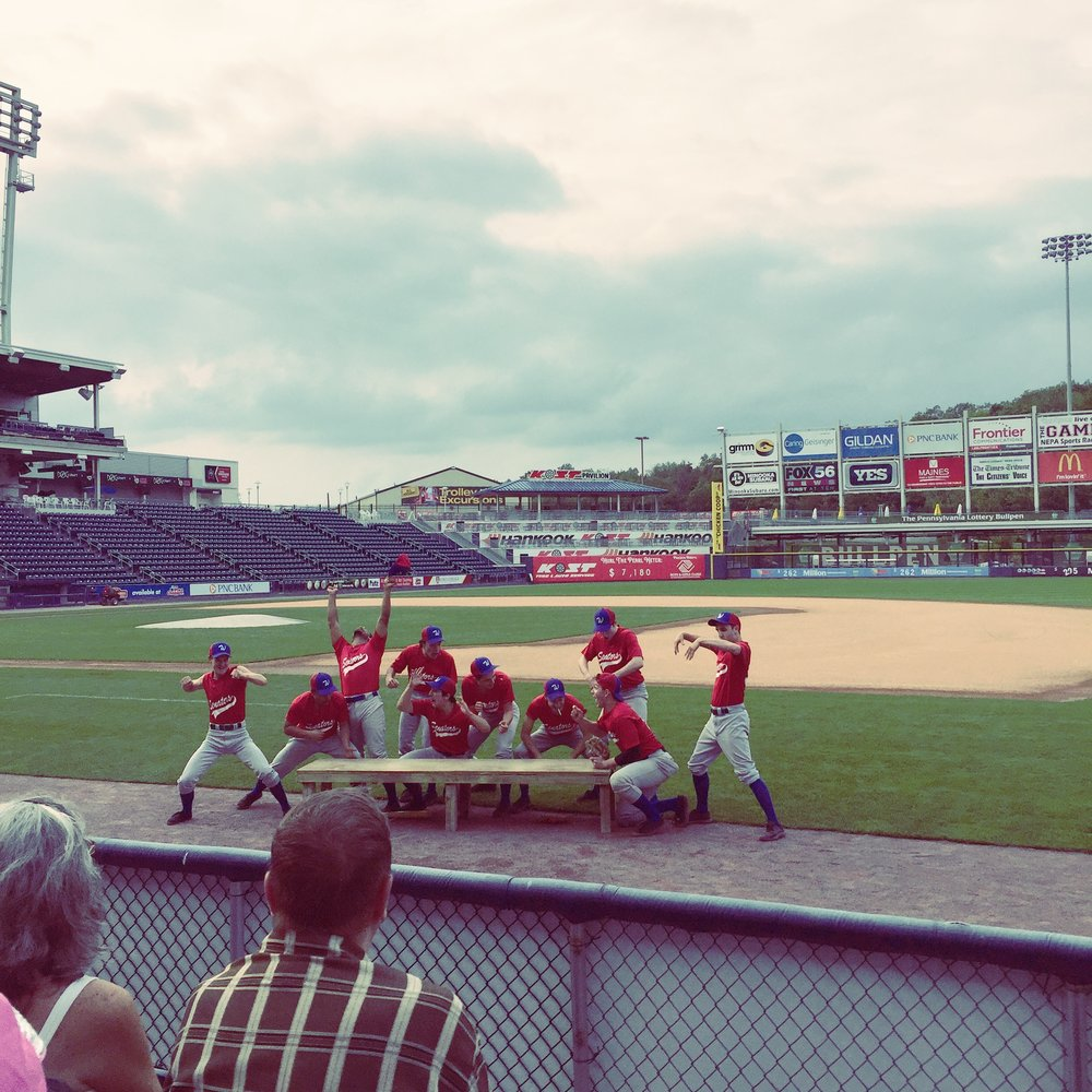 "The cast of  Damn Yankees!  performing ""The Game"" at the PNC Field in Moosic, PA."