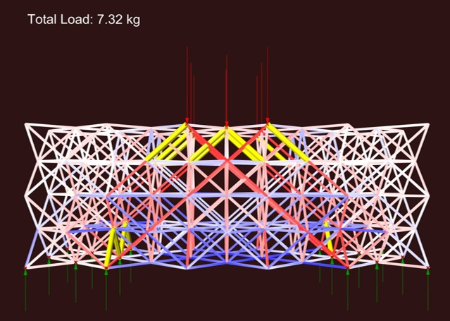 Three point bending simulation using Karamba tools for structural analysis (Yellow: Buckling, Red: Compression, Blue: Tension)