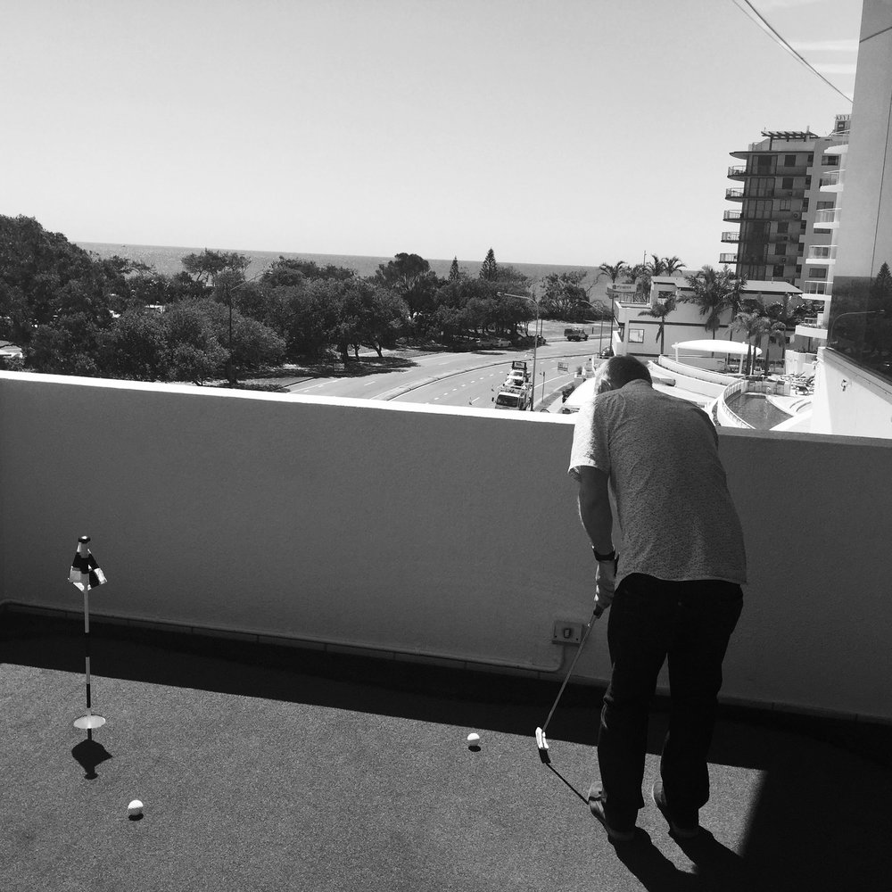 Inbox 2.0 | Director Phil Jackson testing out the Putt Putt green overlooking the ocean