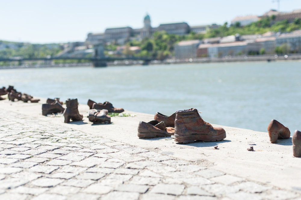 "A moving tribute to Holocaust victims:   ""   Shoes Along the Danube   """