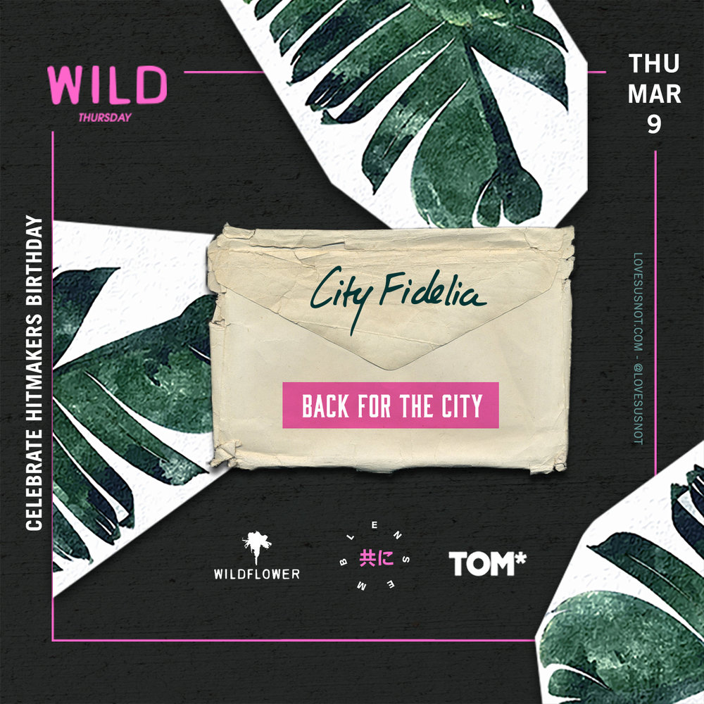 THE EVENT - For our artist, City Fidelia's birthday we partnered with Wildflower and TOM* to celebrate Toronto Men's Fashion Week with a live concert. Come out and support the team with a FREE show ($15 after 11) on Mar 9th till 4am!Click here for more detailsOur IG accounts:@werensemble@lovesusnot@tom_fw