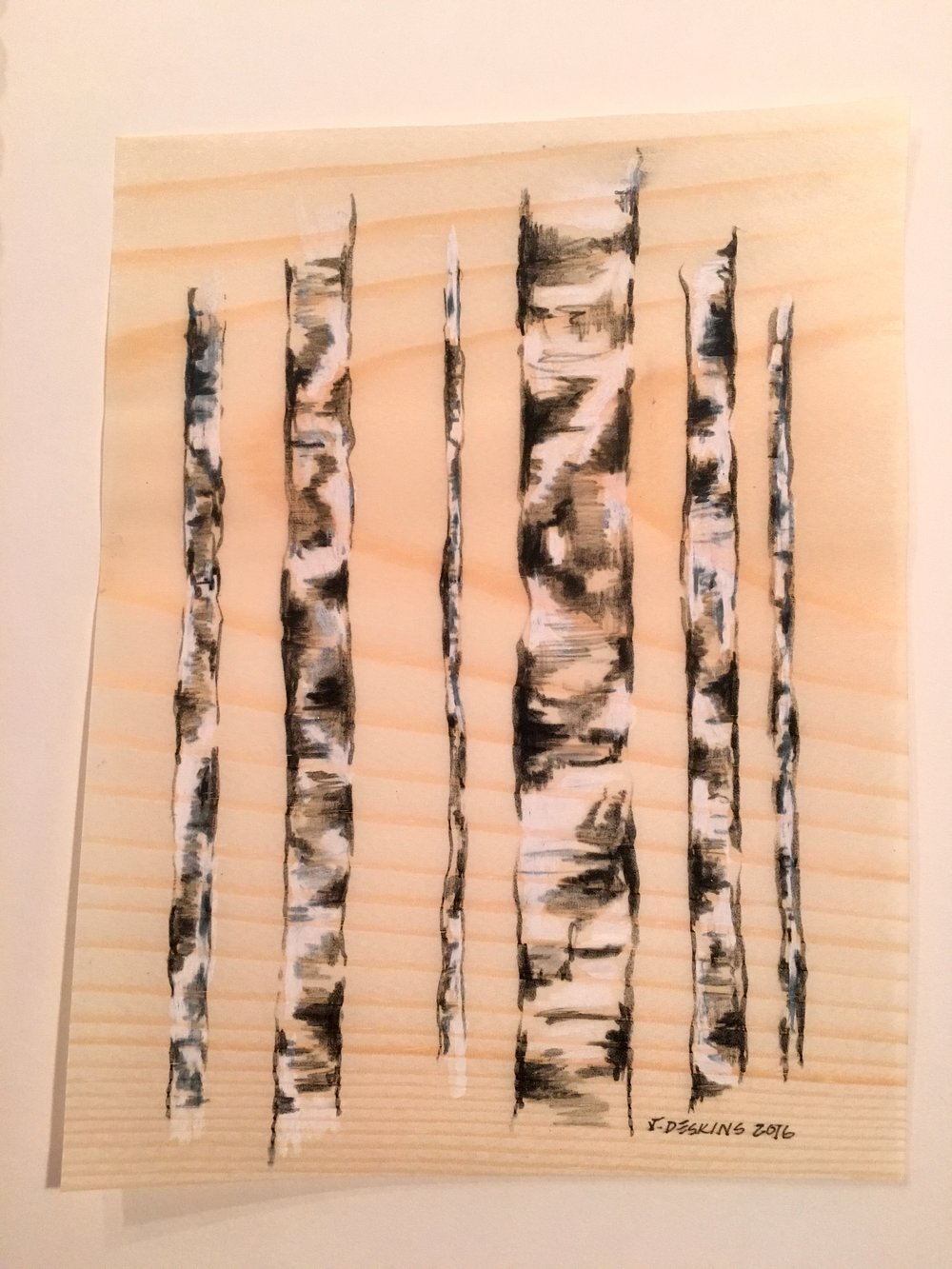 Birches on Pine 1 (Detail)