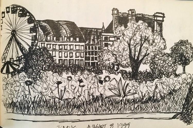 Random-line drawing from my Paris sketchbook.
