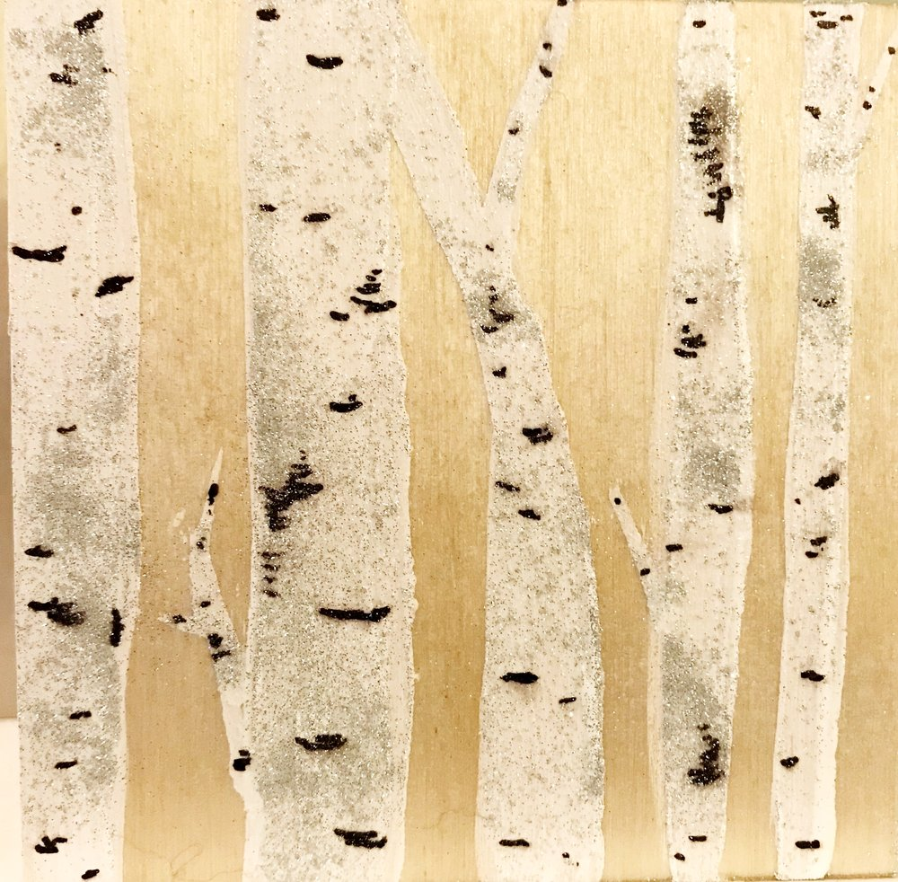 Close up of birch on birch panel.