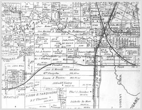 "An 1878 map of the area west and north of Forest Park.  --From ""Urban Oasis - 75 years in Parkview a St. Louis Private Place"""