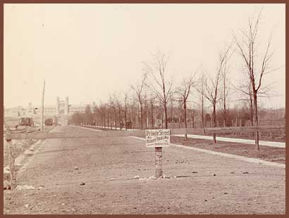 "View west down Lindell from deBaliviere, April 7, 1902.  The sign says ""Private Street No Hauling Permitted"".  Washington University's Brookings Hall is in the distance.  --Photo in the private collection of E. Taylor; reproduced with permission."