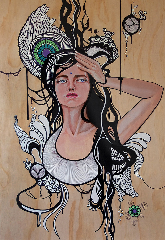 Side Effects of Dreaming, 2017 - Ashleigh Darq & Amanda Hayes. Acrylic paint and posca pen on 60x100cm wood panel.