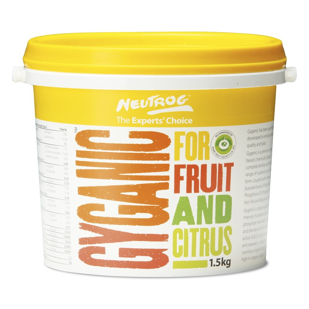 Gyganic for Fruit & Citrus from $21.98  // Available in 1.5kg & 4kg containers.