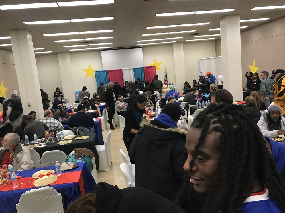 Alabaster Box 2016 - 1st Annual Alabaster Box, 157 displaced guests. Featured our sponsor Sergio Brown, #38 NFL Buffalo Bills (right corner)