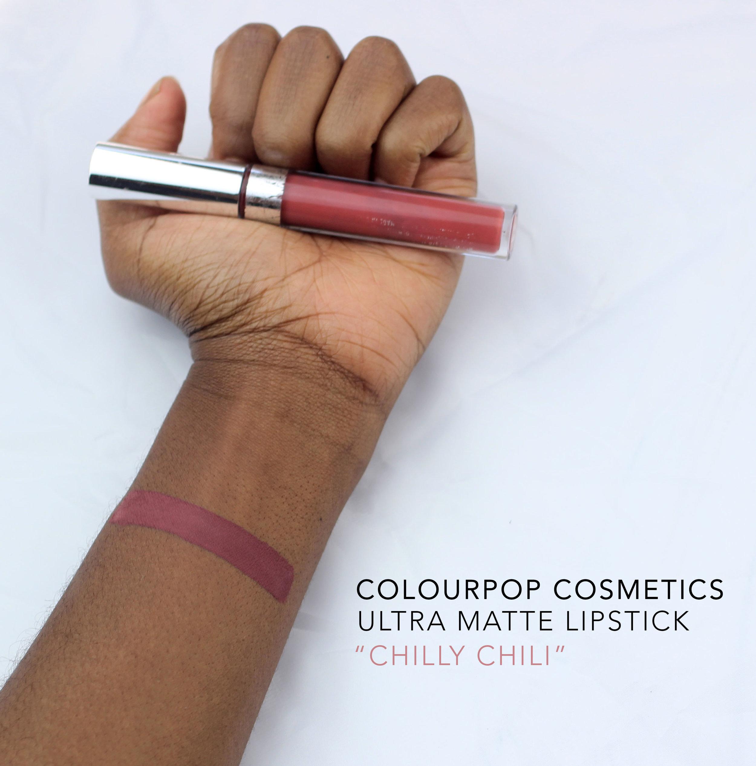 colourpop cosmetics chilly chili swatch dark skin
