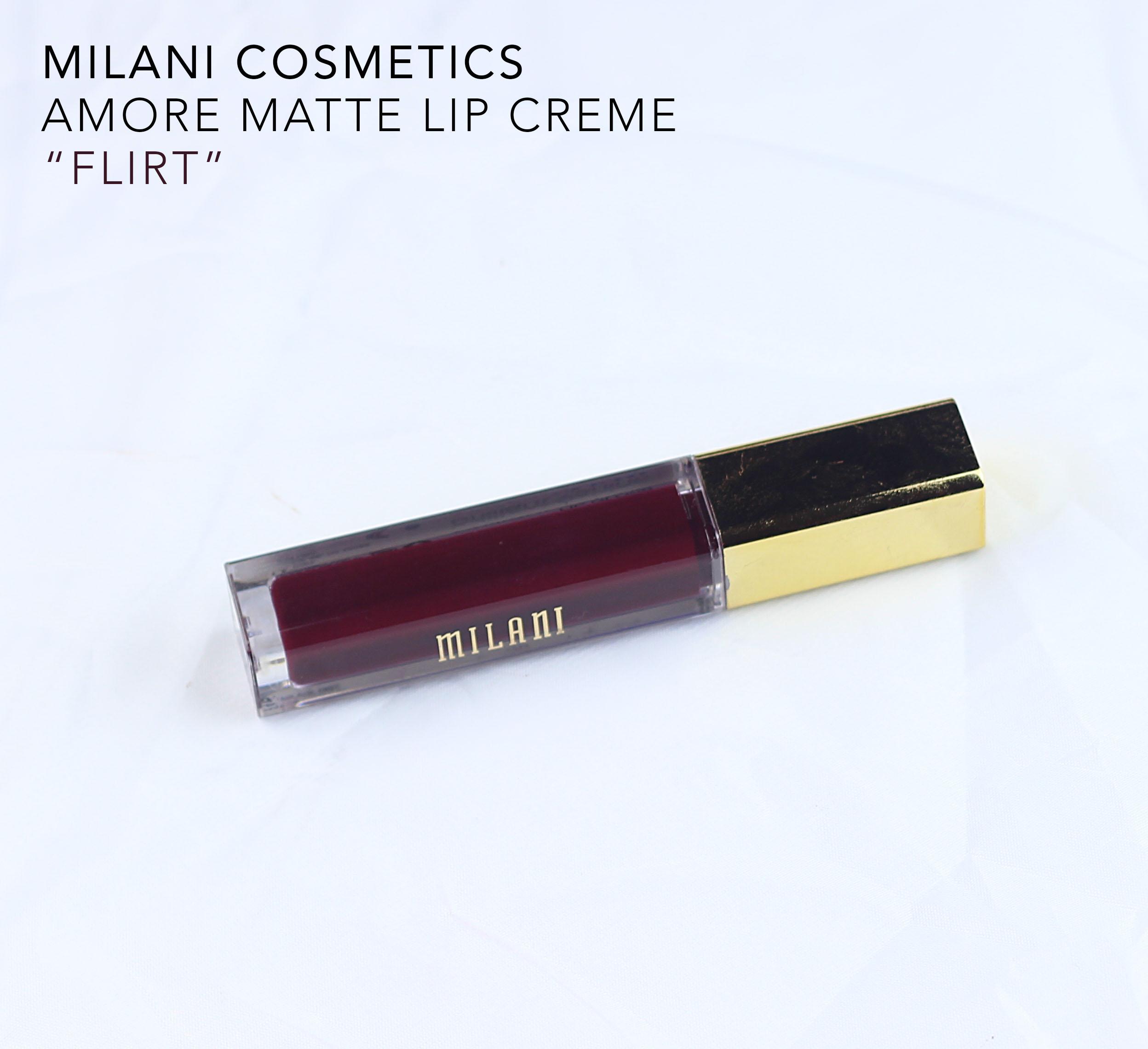 milani-amore matte lip creme swatch in flirt