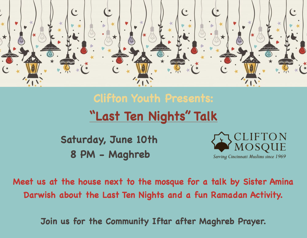 Meet us at the house next to the masjid at 8 PM to have an hour of fun and learning.