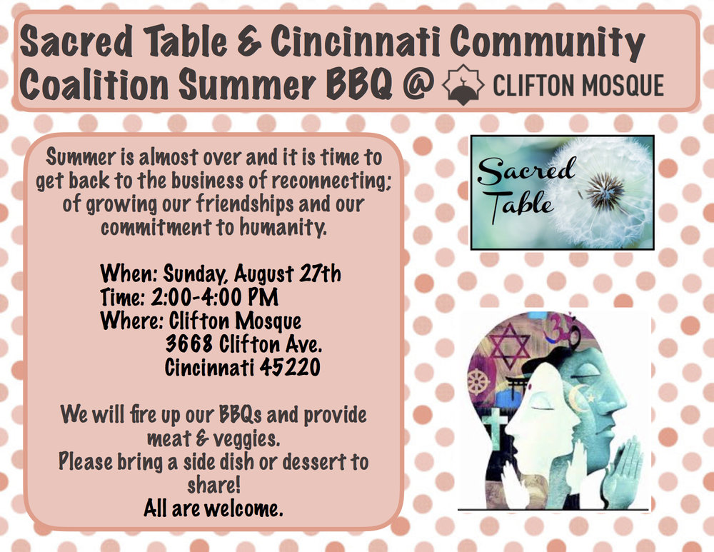 Let's wrap up the summer with this amazing interfaith event.  Clifton Mosque will be BBQing the meat and veggies.  Please bring a side dish, dessert, or beverage to share.    All people are welcome! Share this event with your friends.