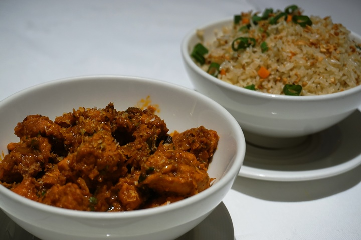 Chicken Rendang with Brunt Garlic Fried RIce