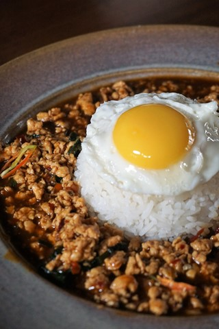 Phad Kaprow Gai with Egg and Rice
