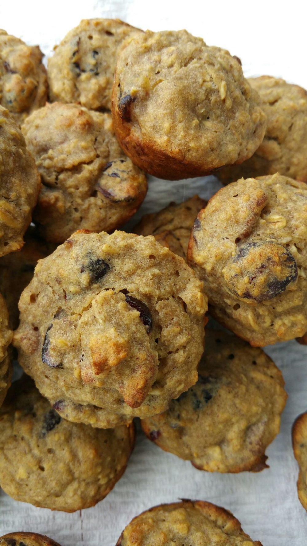 Oatmeal cranberry banana muffins