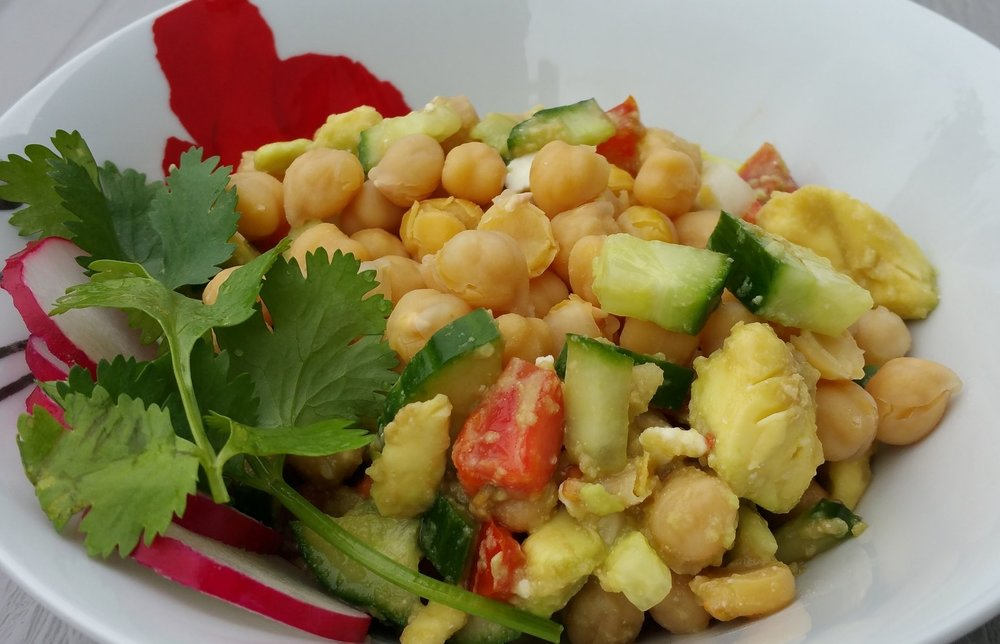 Bowl of Chickpeas with Parsley and other vegetables