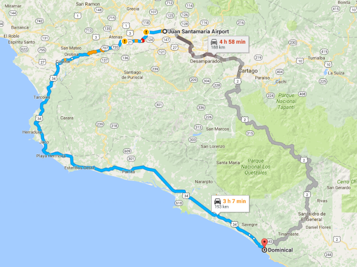 Two completely different routes lead from the airport to Dominical. The route in blue is substantially faster, simpler for navigation, and safer. However, the gray route, over the mountains, allows you to see an completely different aspect of the country, as much of it is about 9,000' in altitude.