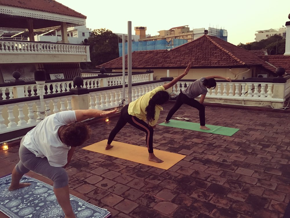 Donation based roof top yoga at ICRC, Sri Lanka