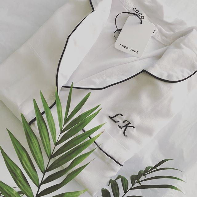 Our white short sets with black embroidery x #cococruzsg #sleepwear #singapore #asia #bridal #pjs #expatliving #honeycomberssg