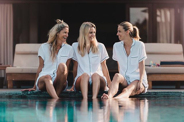 Lazy Sunday afternoons in our short white sets. Shop online- free shipping in Singapore. @lisaclayton77 @nessamaymurray  #cococruzsg #sleepwear #pjs #summer Photo: @brandonceline