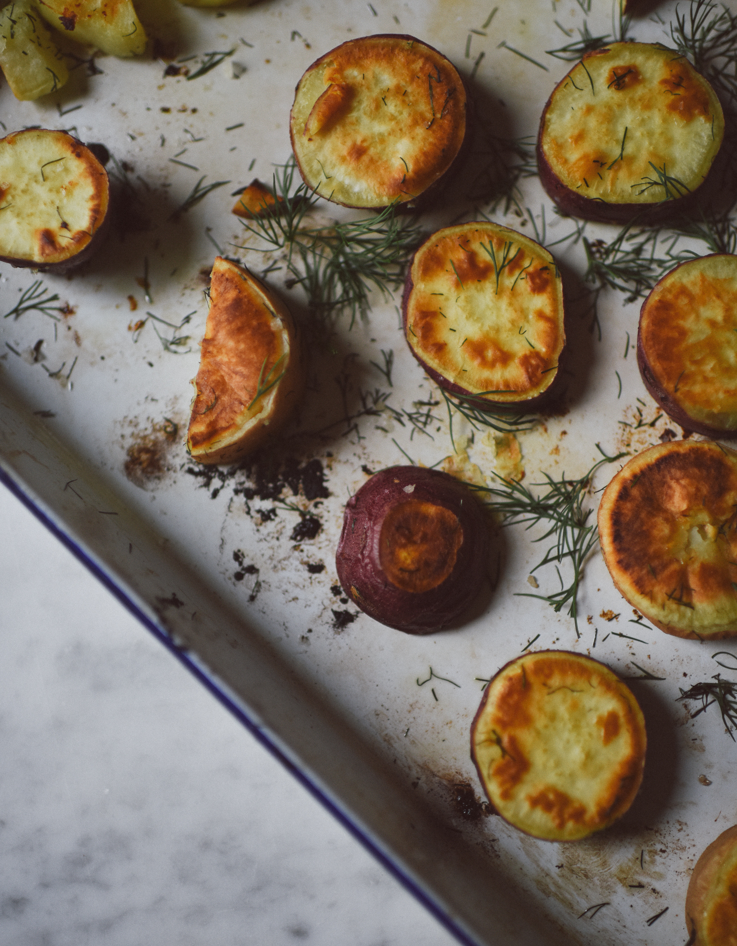 Roasted Sweet Potatoes with Dill