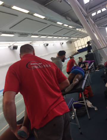 Performance therapy team in action at Lee Valley earlier this year