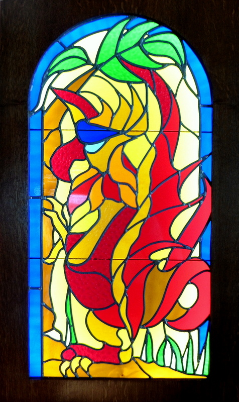 GRIFFONIA (98x49) Vitrail au plomb Création